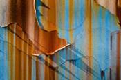 Alaska, Craig Rust Streaks And Peeling Paint On Old Travel Trailer