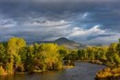 Dramatic Stormy Sunrise Light Strikes The Big Hole River Near Melrose, Montana