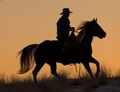 Cowboy Riding His Horse Winters Snow Silhouetted At Sunset