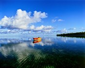 Reflection Of Clouds And Boat On Water, Tahiti