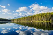 Scenic Landscape Reflecting In Lake At Banff National Park, Alberta, Canada