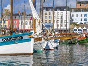 Tall Ships In Rosmeur Harbour In Douarnenez City, Brittany, France