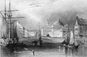 Skyline Boston Massachusetts From Waterfront Showing Fanueil Hall Engraving By T. A. Prior From Bartlett