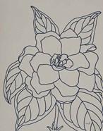 Gardenia Line Drawing Gray Crop