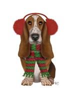 Christmas Des - Basset Hound and Ear Muffs