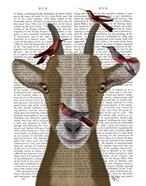 Goat and Red Birds Book Print