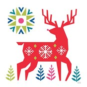 Geometric Holiday Reindeer I Bright