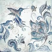 Watercolor Boho Blue Hummingbird I