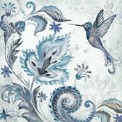 Watercolor Boho Blue Hummingbird II