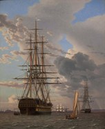 The Russian Ship of the Line Azov and a Frigate at Anchor in the Roads of Elsinore, 1828
