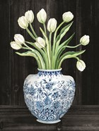 Blue and White Tulips Black I