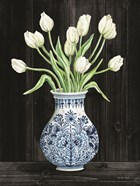 Blue and White Tulips Black II