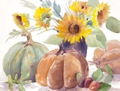 Tawny Sunflowers and Pumpkins