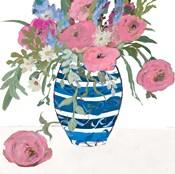 Blue Vase of Pink Roses