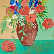 Vase of Peach and Blue Roses