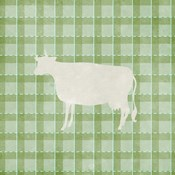 Farm Cow on Plaid