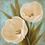 Morning Tulips on Blue II