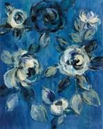 Loose Flowers on Blue I