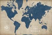 Burlap World Map I Navy