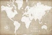 Burlap World Map I