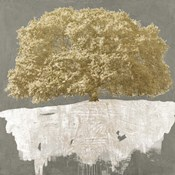 Golden Tree on Grey