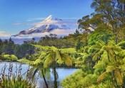 Taranaki Mountain and Lake Mangamahoe, New Zealand