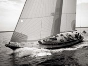 Sailboat Leaning to the Side (BW)