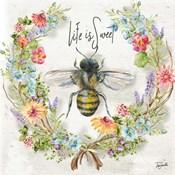 Honey Bee and Herb Blossom Wreath I