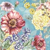 Wildflower Medley square blue I
