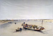 The Nile looking towards the Pyramids of Dahshur and Saqqarah, 19th century
