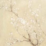 White Cherry Blossoms I Linen Crop