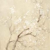 White Cherry Blossoms II Linen Crop