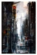 Broadway and Howard Street, rain