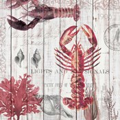 Lobsters on Driftwood Panel
