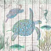 Sea Turtles on Driftwood Panel