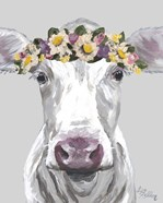 Cow Mabel With Flowers On Gray