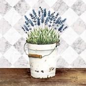 Purple Flowers Metal Bucket