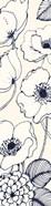 Navy Pen and Ink Flowers III Crop