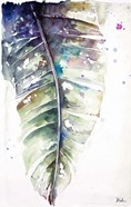 Watercolor Plantain Leaves with Purple I