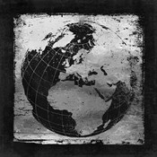 Silver Vintage Earth With Grid Lines