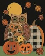 Floral Owl and Pumpkins