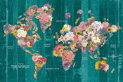 Botanical Floral Map Words Aqua