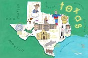 Illustrated State Maps Texas