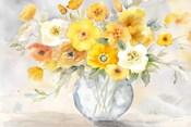 Bright Poppies Vase yellow gray