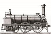 Locomotive Train Engraving Vintage