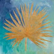 Teal Gold Leaf Palm I