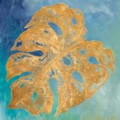 Teal Gold Leaf Palm II