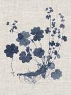 Navy & Linen Leaves I