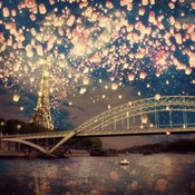 Love Wish Lanterns Over Paris