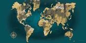 Sketched World Map Blue Crop